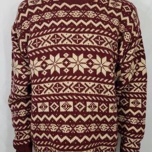 L.L. Bean burgundy ivory 100%  Wool sweater LT
